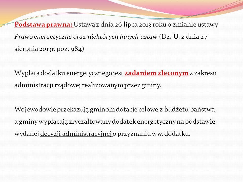 Podstawa prawna: Ustawa z dnia 26 lipca 2013 roku o zmianie ustawy Prawo energetyczne oraz niektórych innych ustaw (Dz. U. z dnia 27 sierpnia 2013r. p