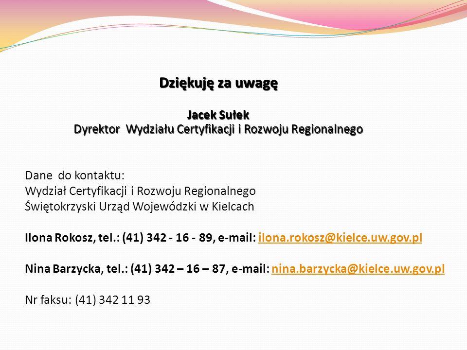 Dziękuję za uwagę Jacek Sułek Dyrektor Wydziału Certyfikacji i Rozwoju Regionalnego Dane do kontaktu: Wydział Certyfikacji i Rozwoju Regionalnego Świę