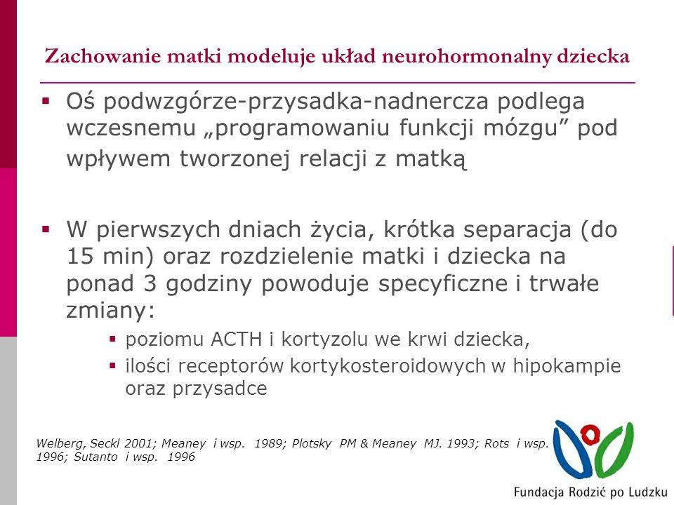 Zachowanie matki modeluje układ neurohormonalny dziecka Oś podwzgórze-przysadka-nadnercza podlega wczesnemu programowaniu funkcji mózgu pod wpływem tworzonej relacji z matką W pierwszych dniach życia, krótka separacja (do 15 min) oraz rozdzielenie matki i dziecka na ponad 3 godziny powoduje specyficzne i trwałe zmiany: poziomu ACTH i kortyzolu we krwi dziecka, ilości receptorów kortykosteroidowych w hipokampie oraz przysadce Welberg, Seckl 2001; Meaney i wsp.