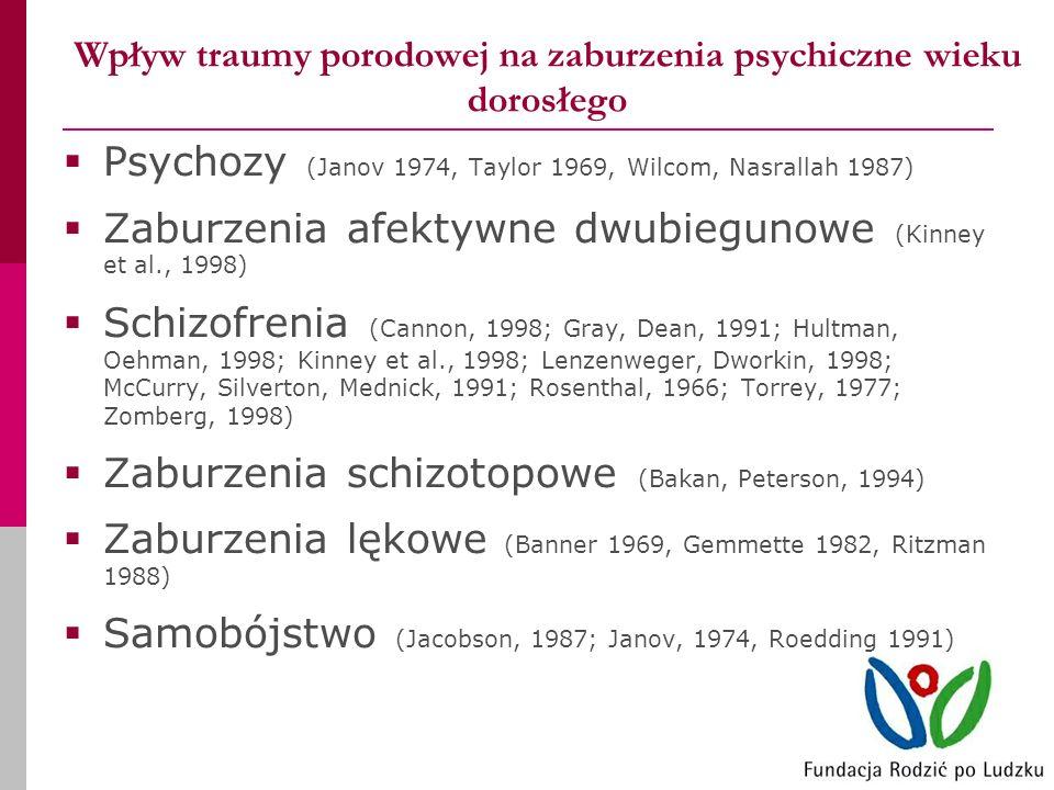 Wpływ traumy porodowej na zaburzenia psychiczne wieku dorosłego Psychozy (Janov 1974, Taylor 1969, Wilcom, Nasrallah 1987) Zaburzenia afektywne dwubiegunowe (Kinney et al., 1998) Schizofrenia (Cannon, 1998; Gray, Dean, 1991; Hultman, Oehman, 1998; Kinney et al., 1998; Lenzenweger, Dworkin, 1998; McCurry, Silverton, Mednick, 1991; Rosenthal, 1966; Torrey, 1977; Zomberg, 1998) Zaburzenia schizotopowe (Bakan, Peterson, 1994) Zaburzenia lękowe (Banner 1969, Gemmette 1982, Ritzman 1988) Samobójstwo (Jacobson, 1987; Janov, 1974, Roedding 1991)