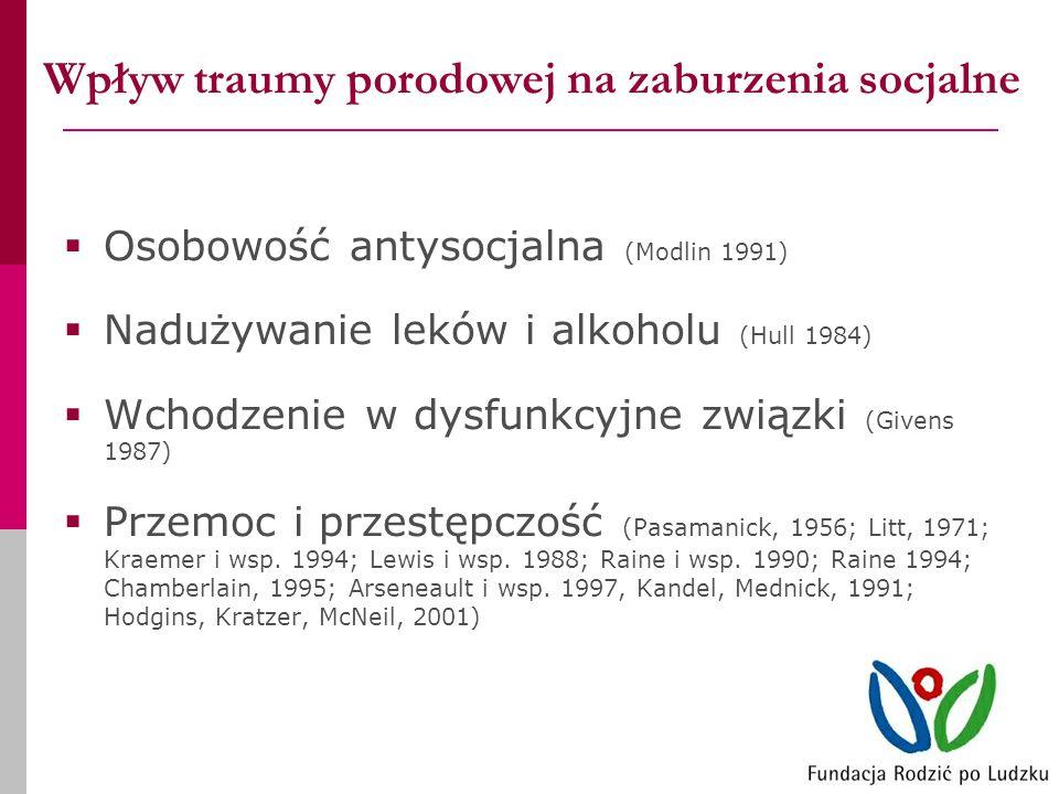 Wpływ traumy porodowej na zaburzenia socjalne Osobowość antysocjalna (Modlin 1991) Nadużywanie leków i alkoholu (Hull 1984) Wchodzenie w dysfunkcyjne związki (Givens 1987) Przemoc i przestępczość (Pasamanick, 1956; Litt, 1971; Kraemer i wsp.
