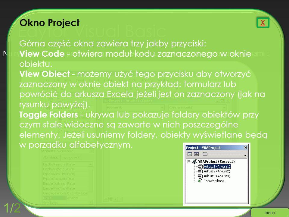 Na rysunku poniżej przedstawiam nasz edytor z rozmieszczonymi kilkoma oknami : Okno Project Górna część okna zawiera trzy jakby przyciski: View Code -
