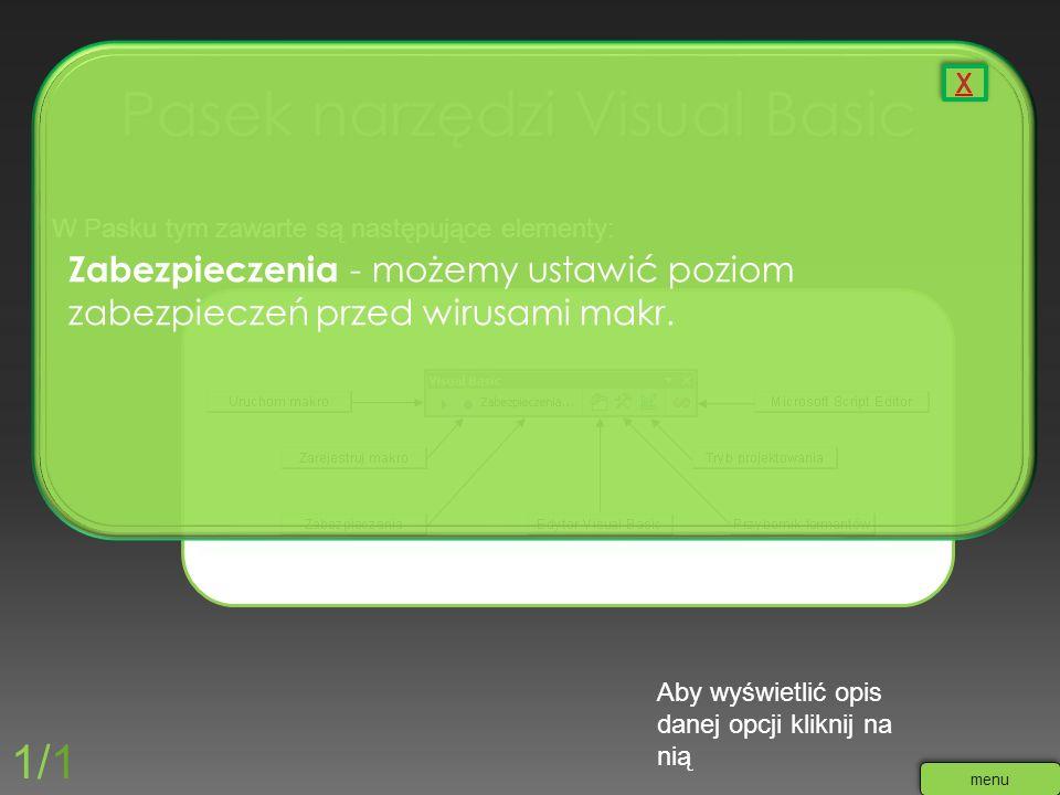 W Pasku tym zawarte są następujące elementy: Aby wyświetlić opis danej opcji kliknij na nią 1/1 menu Zabezpieczenia - możemy ustawić poziom zabezpiecz