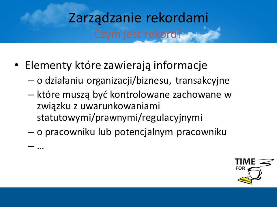 Elementy które zawierają informacje – o działaniu organizacji/biznesu, transakcyjne – które muszą być kontrolowane zachowane w związku z uwarunkowania