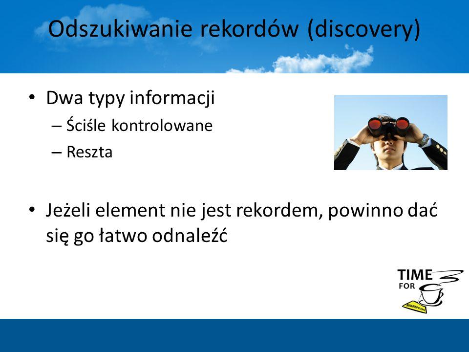 Odszukiwanie rekordów (discovery) Dwa typy informacji – Ściśle kontrolowane – Reszta Jeżeli element nie jest rekordem, powinno dać się go łatwo odnale