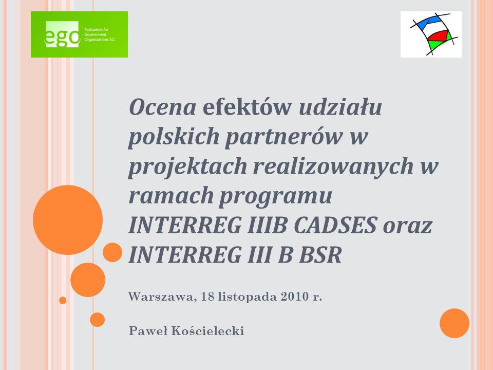 Wyniki ewaluacji ObserwacjeWyjaśnienie Polscy partnerzy realizowanych przedsięwzięć w niewielkim stopniu angażowali się w proces powstawania projektu 1) stosunkowo niewielki odsetek organizacji, które miały wcześniejsze doświadczenia z projektami europejskimi i niski potencjał organizacji w tym zakresie 2) fakt dość dużej mobilizacji zagranicznych partnerów projektu Przeważającą część przebadanych projektów z programu INTERREG III B inicjowali partnerzy zagraniczni.