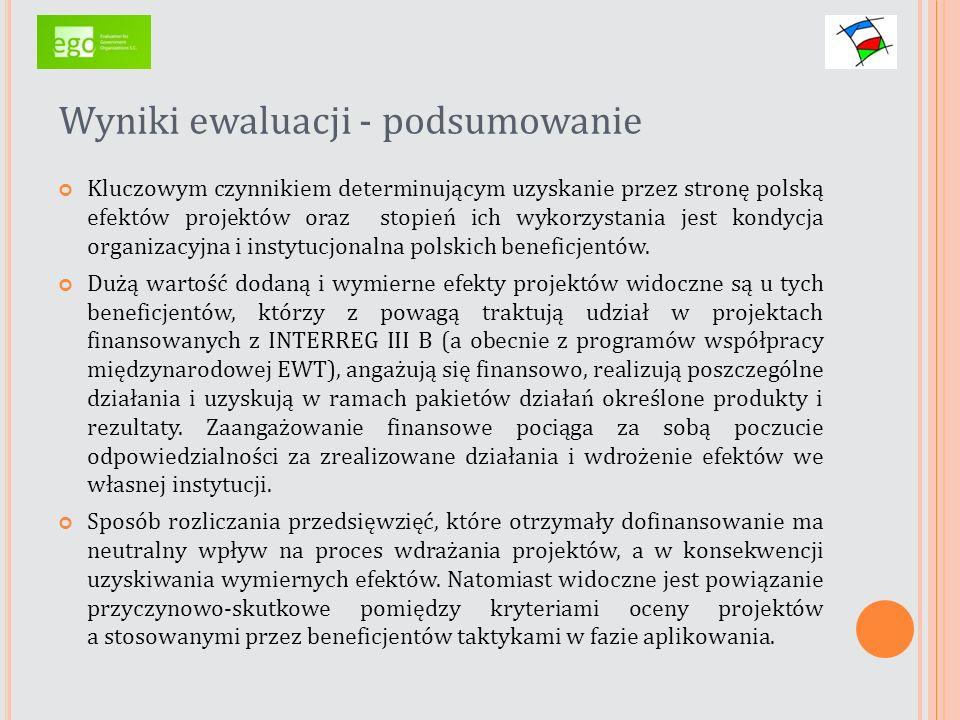 Wyniki ewaluacji - podsumowanie Kluczowym czynnikiem determinującym uzyskanie przez stronę polską efektów projektów oraz stopień ich wykorzystania jes