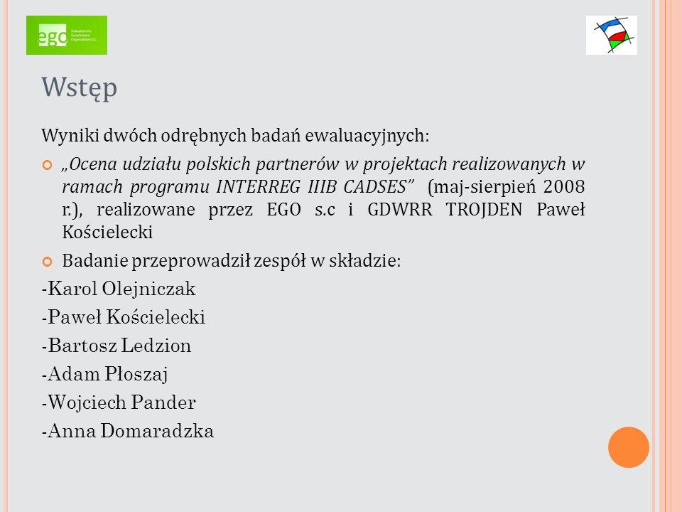 Wstęp Wyniki dwóch odrębnych badań ewaluacyjnych: Ocena efektów udziału polskich partnerów w projektach realizowanych w ramach programu współpracy transnarodowej INTERREG III B BSR (Regionu Morza Bałtyckiego) (lipiec- listopad 2009 r.) realizowane przez GDWRR TROJDEN Paweł Kościelecki Badanie przeprowadził zespół w składzie: - Paweł Kościelecki - Anna Domaradzka-Widła - Klara Sołtan-Kościelecka - Adam Płoszaj - Łukasz Widła-Domaradzki