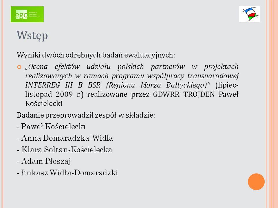 Wstęp Wyniki dwóch odrębnych badań ewaluacyjnych: Ocena efektów udziału polskich partnerów w projektach realizowanych w ramach programu współpracy tra