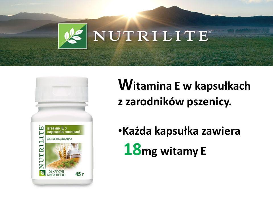 W itamina E w kapsułkach z zarodników pszenicy. Każda kapsułka zawiera 18 mg witamy E