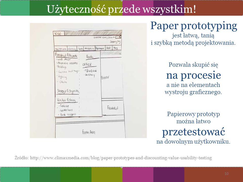 Żródło: http://www.climaxmedia.com/blog/paper-prototypes-and-discounting-value-usability-testing 10 Paper prototyping jest łatwą, tanią i szybką metod