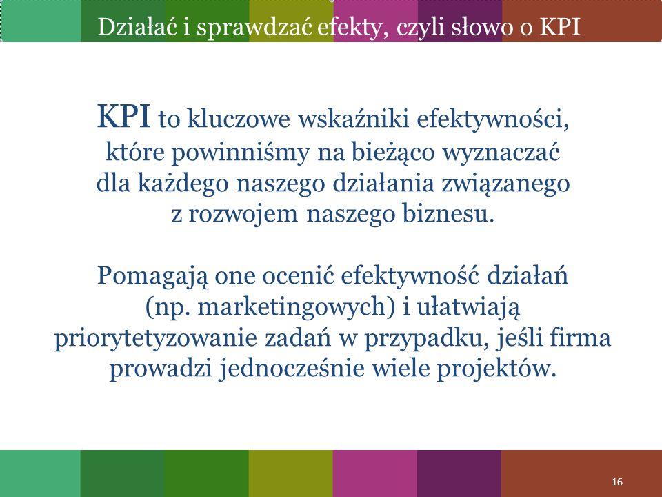 KPI to kluczowe wskaźniki efektywności, które powinniśmy na bieżąco wyznaczać dla każdego naszego działania związanego z rozwojem naszego biznesu. Pom