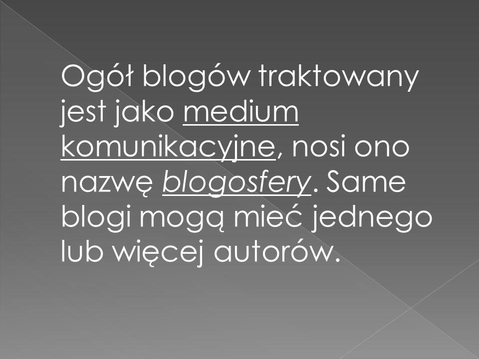 Ogół blogów traktowany jest jako medium komunikacyjne, nosi ono nazwę blogosfery. Same blogi mogą mieć jednego lub więcej autorów.