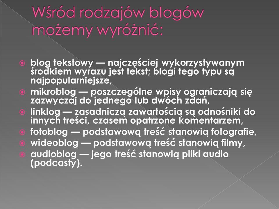 blog tekstowy najczęściej wykorzystywanym środkiem wyrazu jest tekst; blogi tego typu są najpopularniejsze, mikroblog poszczególne wpisy ograniczają s