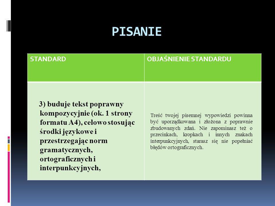 PISANIE STANDARDOBJAŚNIENIE STANDARDU 3) buduje tekst poprawny kompozycyjnie (ok.