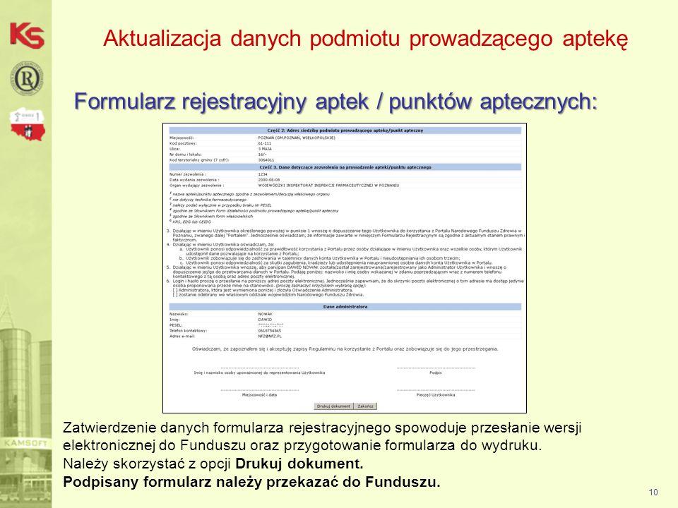 Aktualizacja danych podmiotu prowadzącego aptekę Logowanie do Portalu NFZ: 11 Przekazany do podmiotu kod apteki wraz z loginem i hasłem umożliwia uprawnionym operatorom wykonanie logowania do aplikacji internetowej i wykonanie następujących czynności: uzupełnienie informacji o zatrudnieniu personelu apteki oraz okresie realizacji recept przygotowanie wniosku o zawarcie umowy na realizację recept aktualizacja danych apteki / punktu (wniosek) aktualizacja danych podmiotu prowadzącego (wniosek) aktualizacji danych kierownika apteki (wniosek)