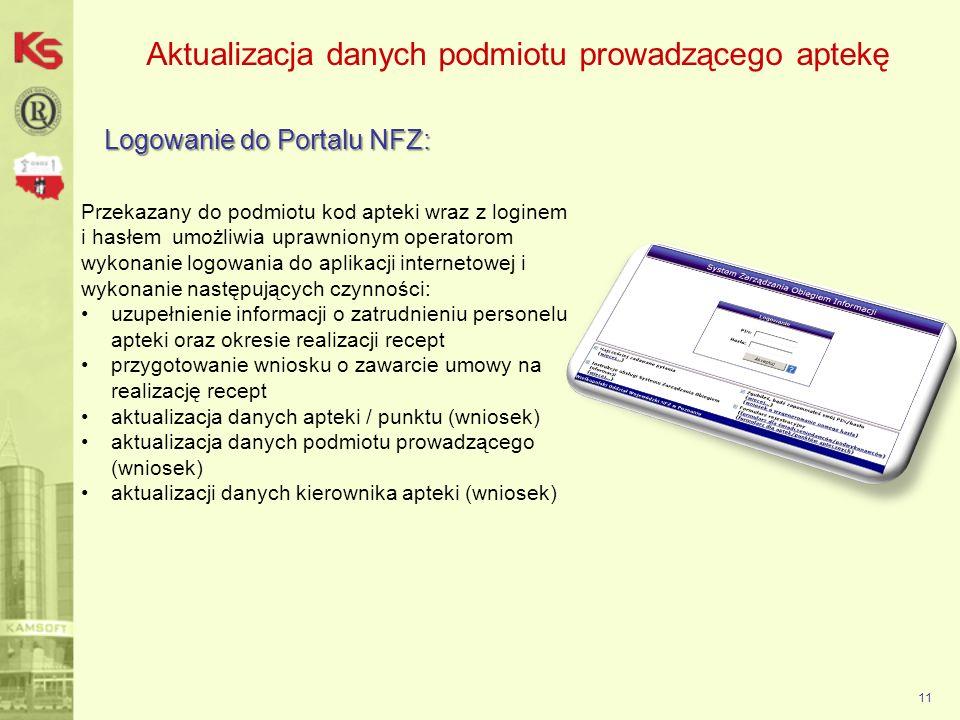 Aktualizacja danych podmiotu prowadzącego aptekę Logowanie do Portalu NFZ: 11 Przekazany do podmiotu kod apteki wraz z loginem i hasłem umożliwia upra