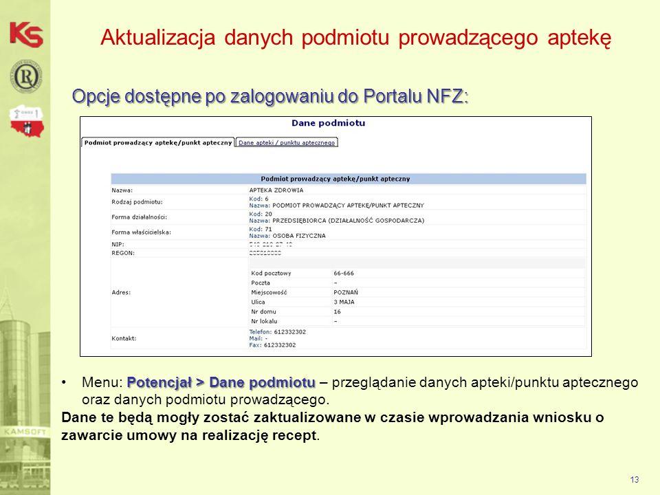 Aktualizacja danych podmiotu prowadzącego aptekę Opcje dostępne po zalogowaniu do Portalu NFZ: 13 Potencjał > Dane podmiotuMenu: Potencjał > Dane podm