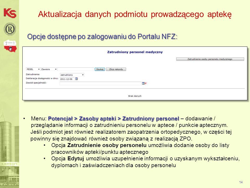 Aktualizacja danych podmiotu prowadzącego aptekę Opcje dostępne po zalogowaniu do Portalu NFZ: 14 Potencjał > Zasoby apteki > Zatrudniony personelMenu