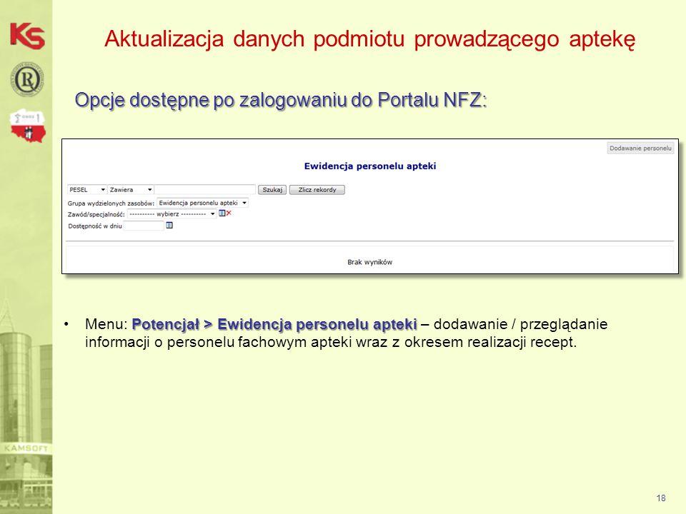 Aktualizacja danych podmiotu prowadzącego aptekę Opcje dostępne po zalogowaniu do Portalu NFZ: 18 Potencjał > Ewidencja personelu aptekiMenu: Potencja