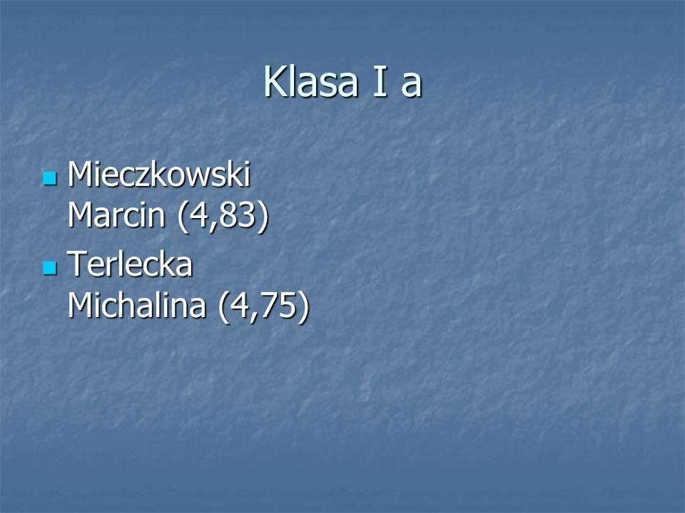 Klasa I a Mieczkowski Marcin (4,83) Mieczkowski Marcin (4,83) Terlecka Michalina (4,75) Terlecka Michalina (4,75)