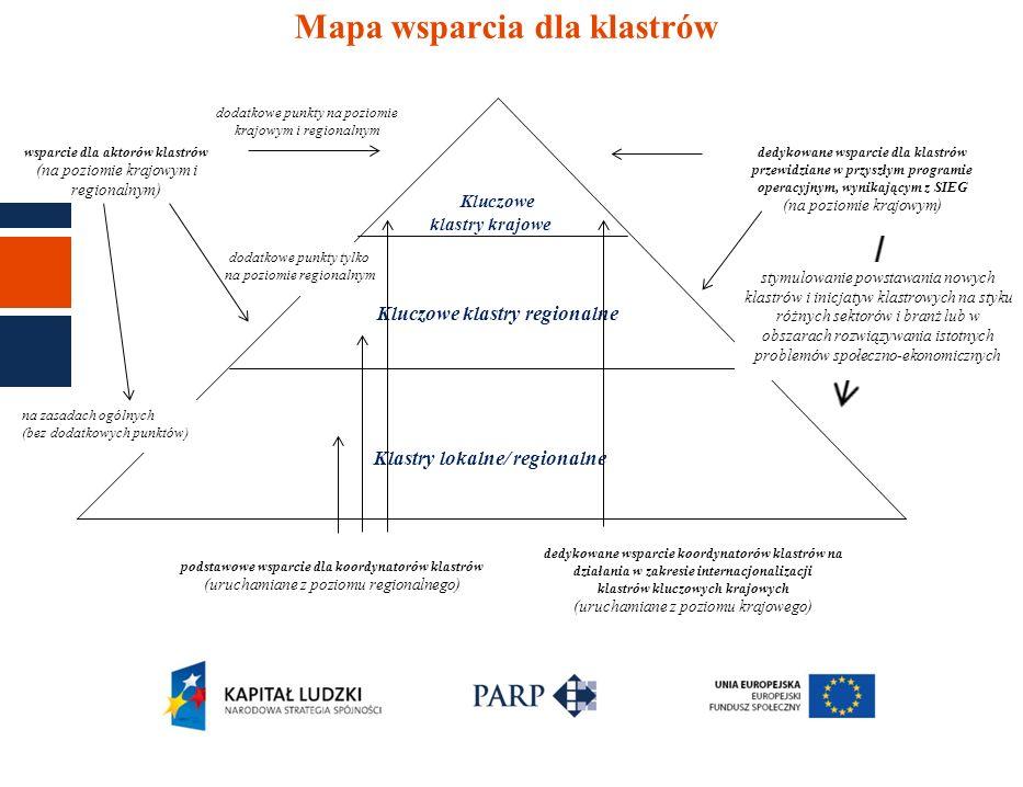 Mapa wsparcia dla klastrów dodatkowe punkty na poziomie krajowym i regionalnym Kluczowe klastry krajowe Kluczowe klastry regionalne Klastry lokalne/ r