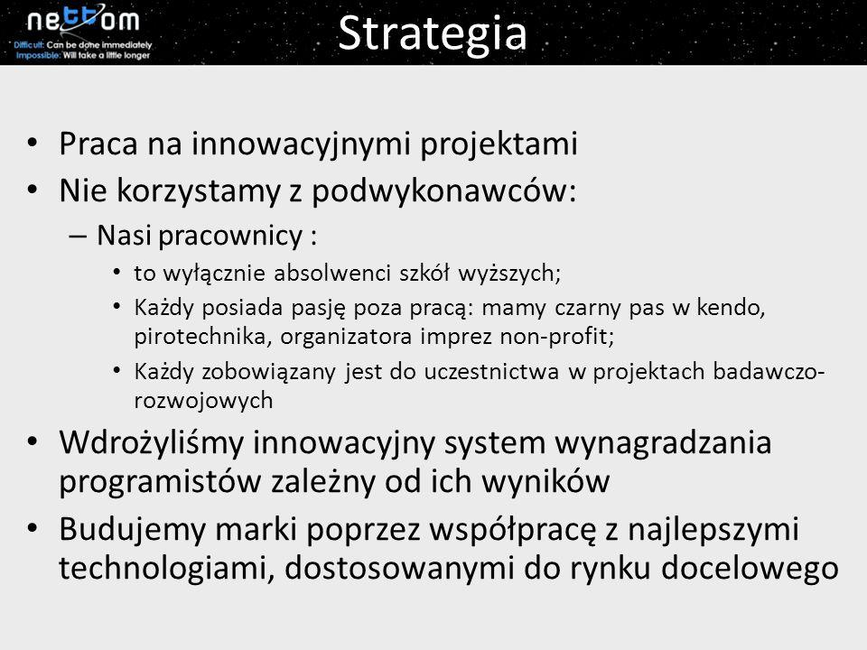 Strategia Praca na innowacyjnymi projektami Nie korzystamy z podwykonawców: – Nasi pracownicy : to wyłącznie absolwenci szkół wyższych; Każdy posiada