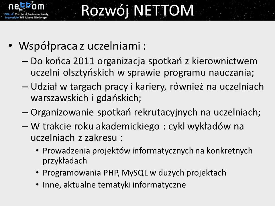 Rozwój NETTOM Współpraca z uczelniami : – Do końca 2011 organizacja spotkań z kierownictwem uczelni olsztyńskich w sprawie programu nauczania; – Udzia