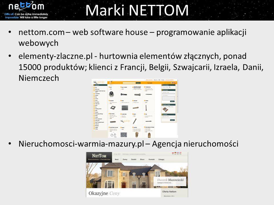 Marki NETTOM nettom.com – web software house – programowanie aplikacji webowych elementy-zlaczne.pl - hurtownia elementów złącznych, ponad 15000 produktów; klienci z Francji, Belgii, Szwajcarii, Izraela, Danii, Niemczech Nieruchomosci-warmia-mazury.pl – Agencja nieruchomości