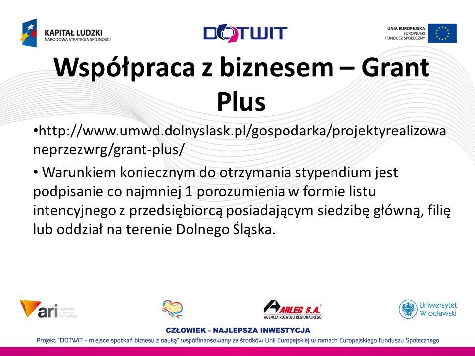 Współpraca z biznesem – Grant Plus http://www.umwd.dolnyslask.pl/gospodarka/projektyrealizowa neprzezwrg/grant-plus/ Warunkiem koniecznym do otrzymani