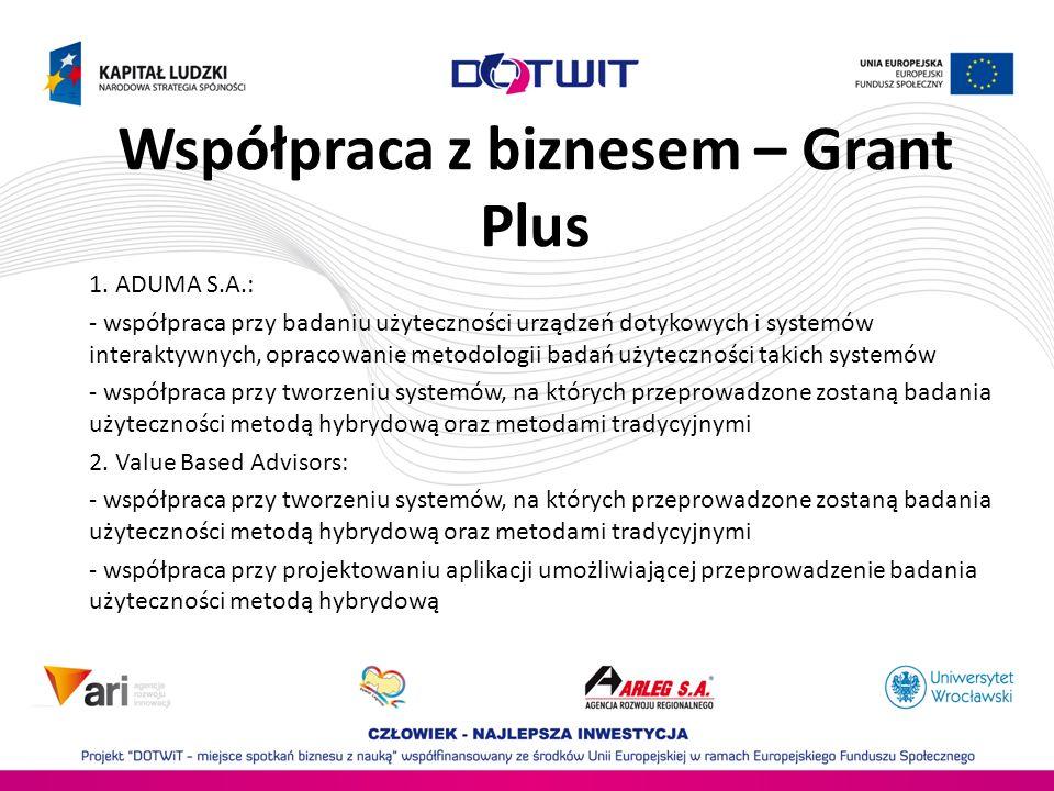 Współpraca z biznesem – Grant Plus 1. ADUMA S.A.: - współpraca przy badaniu użyteczności urządzeń dotykowych i systemów interaktywnych, opracowanie me