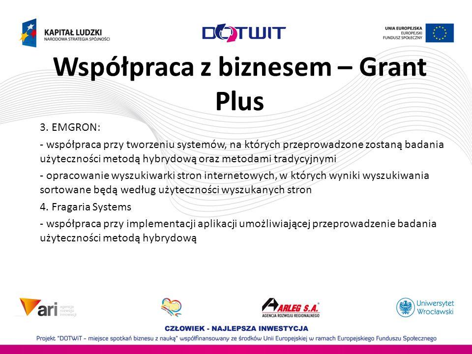 Współpraca z biznesem – Grant Plus 3. EMGRON: - współpraca przy tworzeniu systemów, na których przeprowadzone zostaną badania użyteczności metodą hybr