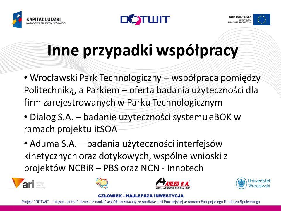Inne przypadki współpracy Wrocławski Park Technologiczny – współpraca pomiędzy Politechniką, a Parkiem – oferta badania użyteczności dla firm zarejest
