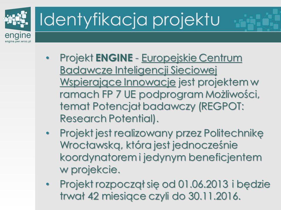 Identyfikacja projektu Projekt ENGINE - Europejskie Centrum Badawcze Inteligencji Sieciowej Wspierające Innowacje jest projektem w ramach FP 7 UE podp
