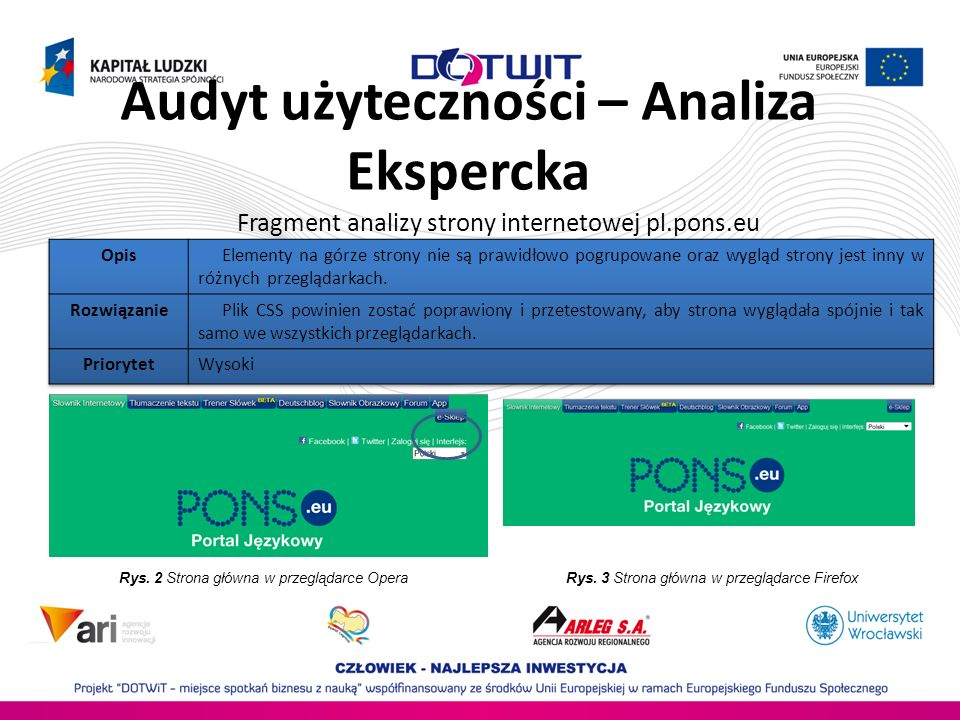 Audyt użyteczności – Analiza Ekspercka Fragment analizy strony internetowej pl.pons.eu Rys. 2 Strona główna w przeglądarce OperaRys. 3 Strona główna w