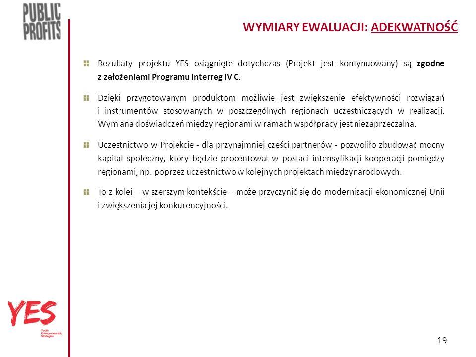19 WYMIARY EWALUACJI: ADEKWATNOŚĆ Rezultaty projektu YES osiągnięte dotychczas (Projekt jest kontynuowany) są zgodne z założeniami Programu Interreg IV C.