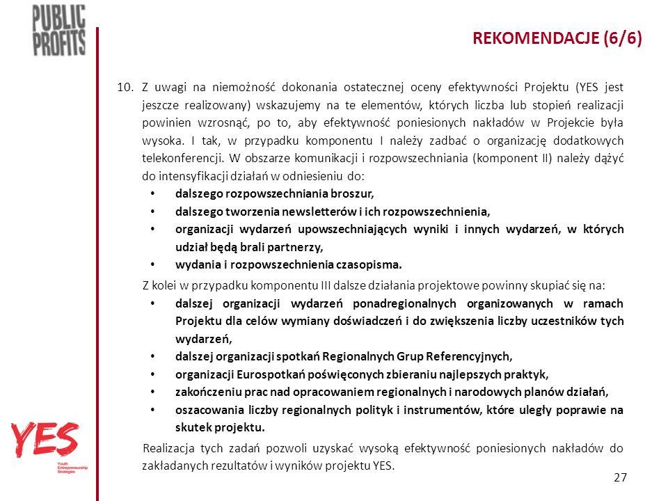 27 REKOMENDACJE (6/6) 10.Z uwagi na niemożność dokonania ostatecznej oceny efektywności Projektu (YES jest jeszcze realizowany) wskazujemy na te elementów, których liczba lub stopień realizacji powinien wzrosnąć, po to, aby efektywność poniesionych nakładów w Projekcie była wysoka.