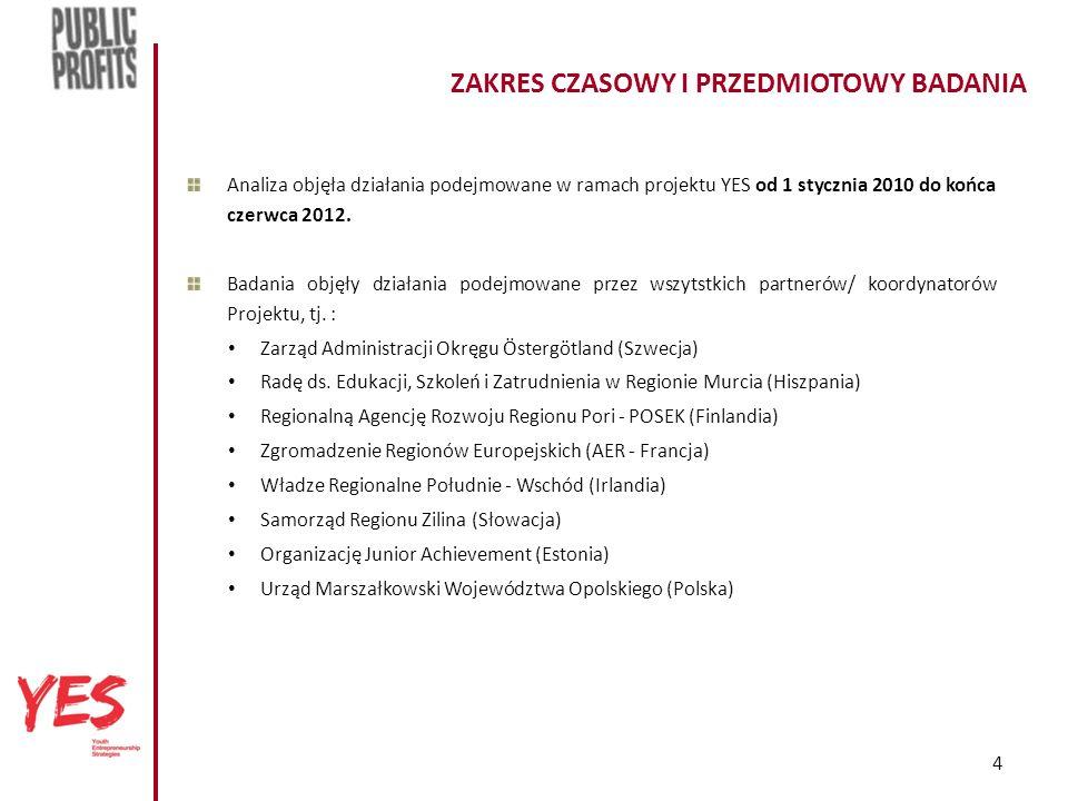 4 ZAKRES CZASOWY I PRZEDMIOTOWY BADANIA Analiza objęła działania podejmowane w ramach projektu YES od 1 stycznia 2010 do końca czerwca 2012.
