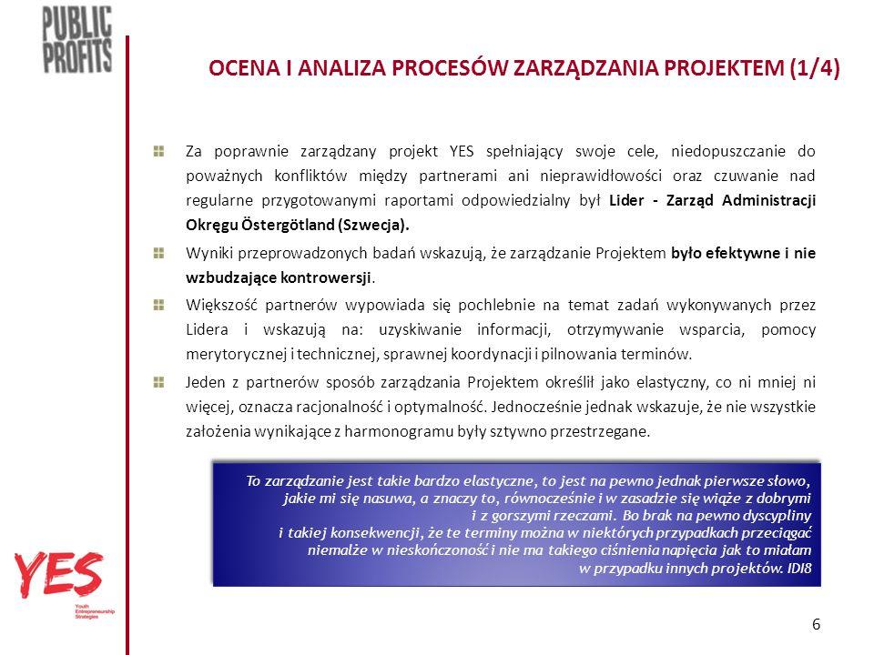 6 OCENA I ANALIZA PROCESÓW ZARZĄDZANIA PROJEKTEM (1/4) Za poprawnie zarządzany projekt YES spełniający swoje cele, niedopuszczanie do poważnych konfliktów między partnerami ani nieprawidłowości oraz czuwanie nad regularne przygotowanymi raportami odpowiedzialny był Lider - Zarząd Administracji Okręgu Östergötland (Szwecja).