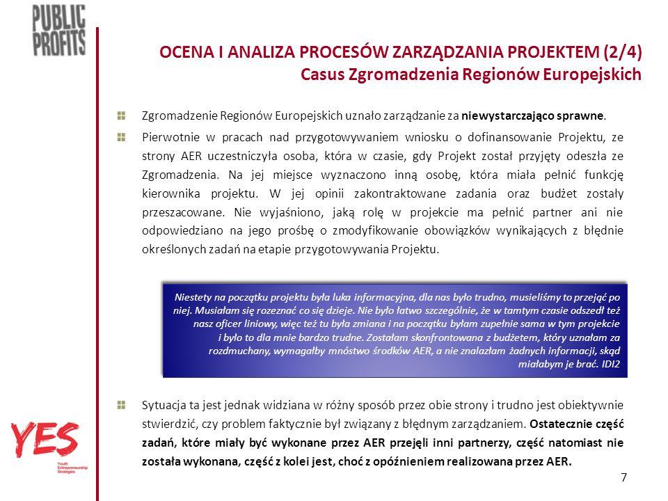 7 OCENA I ANALIZA PROCESÓW ZARZĄDZANIA PROJEKTEM (2/4) Casus Zgromadzenia Regionów Europejskich Zgromadzenie Regionów Europejskich uznało zarządzanie za niewystarczająco sprawne.
