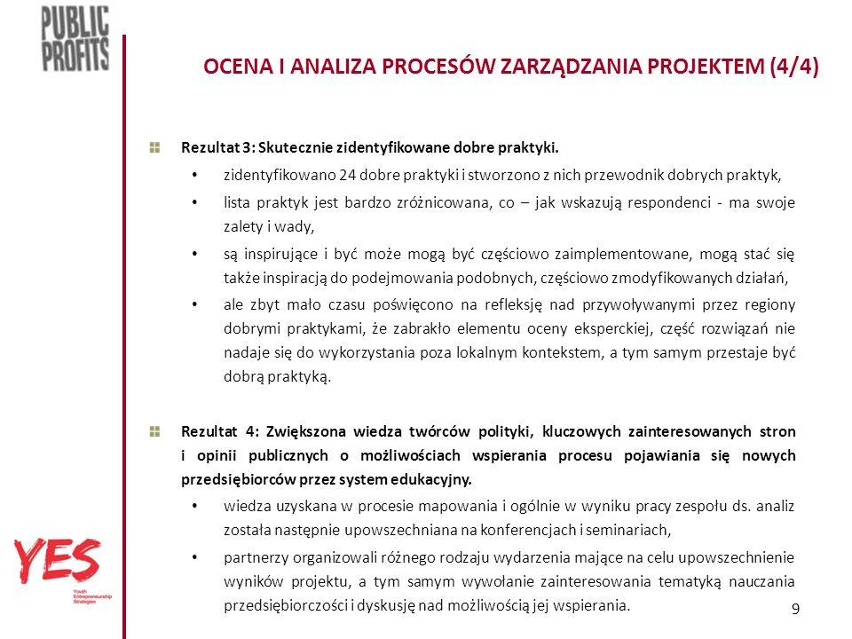 9 OCENA I ANALIZA PROCESÓW ZARZĄDZANIA PROJEKTEM (4/4) Rezultat 3: Skutecznie zidentyfikowane dobre praktyki.
