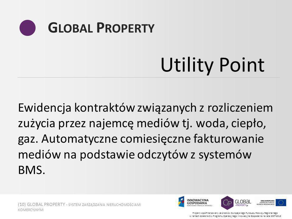 (10) GLOBAL PROPERTY - SYSTEM ZARZĄDZANIA NIERUCHOMOŚCIAMI KOMERCYJNYMI Projekt współfinansowany ze środków Europejskiego Funduszu Rozwoju Regionalnego w ramach działania 8.1 Programu Operacyjnego Innowacyjna Gospodarka na lata 2007-2013 G LOBAL P ROPERTY Ewidencja kontraktów związanych z rozliczeniem zużycia przez najemcę mediów tj.