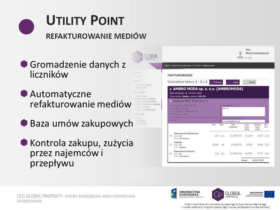 (11) GLOBAL PROPERTY - SYSTEM ZARZĄDZANIA NIERUCHOMOŚCIAMI KOMERCYJNYMI Projekt współfinansowany ze środków Europejskiego Funduszu Rozwoju Regionalnego w ramach działania 8.1 Programu Operacyjnego Innowacyjna Gospodarka na lata 2007-2013 U TILITY P OINT REFAKTUROWANIE MEDIÓW Gromadzenie danych z liczników Automatyczne refakturowanie mediów Baza umów zakupowych Kontrola zakupu, zużycia przez najemców i przepływu