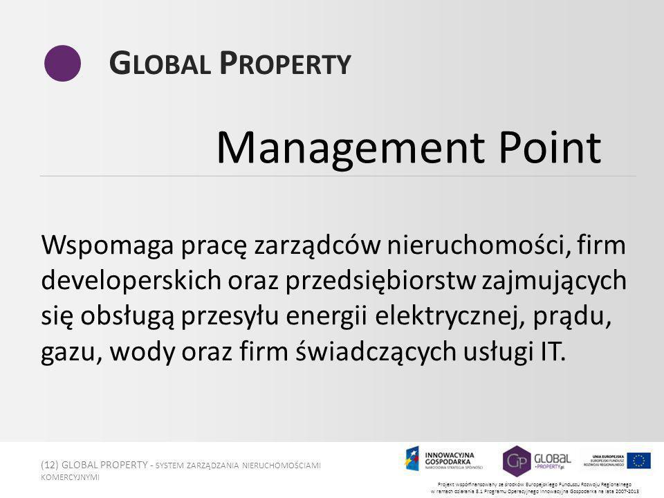 (12) GLOBAL PROPERTY - SYSTEM ZARZĄDZANIA NIERUCHOMOŚCIAMI KOMERCYJNYMI Projekt współfinansowany ze środków Europejskiego Funduszu Rozwoju Regionalnego w ramach działania 8.1 Programu Operacyjnego Innowacyjna Gospodarka na lata 2007-2013 G LOBAL P ROPERTY Wspomaga pracę zarządców nieruchomości, firm developerskich oraz przedsiębiorstw zajmujących się obsługą przesyłu energii elektrycznej, prądu, gazu, wody oraz firm świadczących usługi IT.