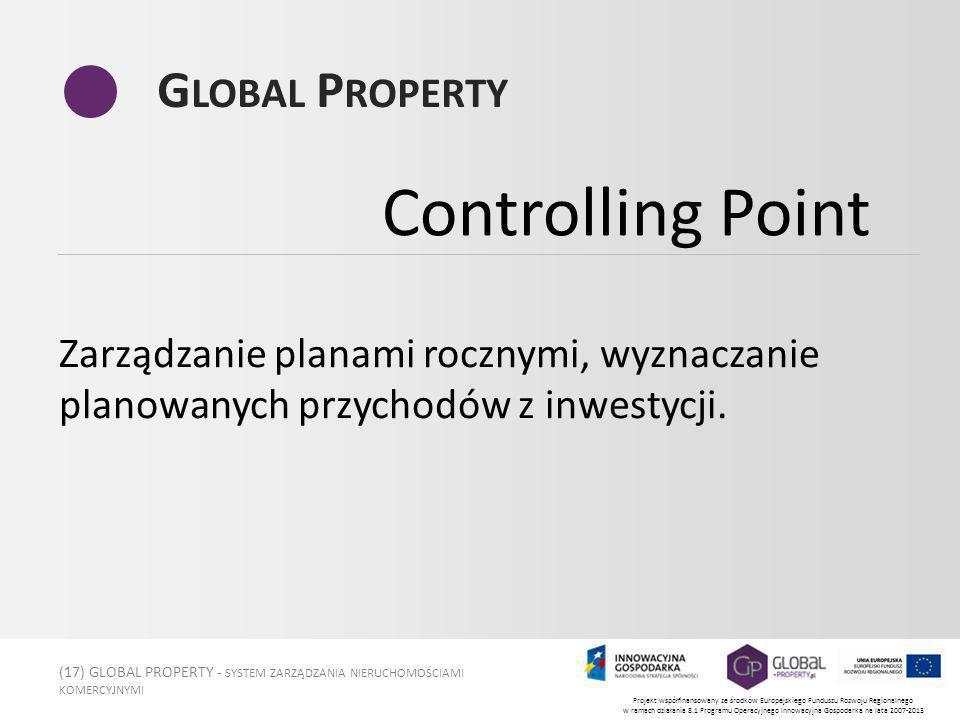 (17) GLOBAL PROPERTY - SYSTEM ZARZĄDZANIA NIERUCHOMOŚCIAMI KOMERCYJNYMI Projekt współfinansowany ze środków Europejskiego Funduszu Rozwoju Regionalnego w ramach działania 8.1 Programu Operacyjnego Innowacyjna Gospodarka na lata 2007-2013 G LOBAL P ROPERTY Zarządzanie planami rocznymi, wyznaczanie planowanych przychodów z inwestycji.