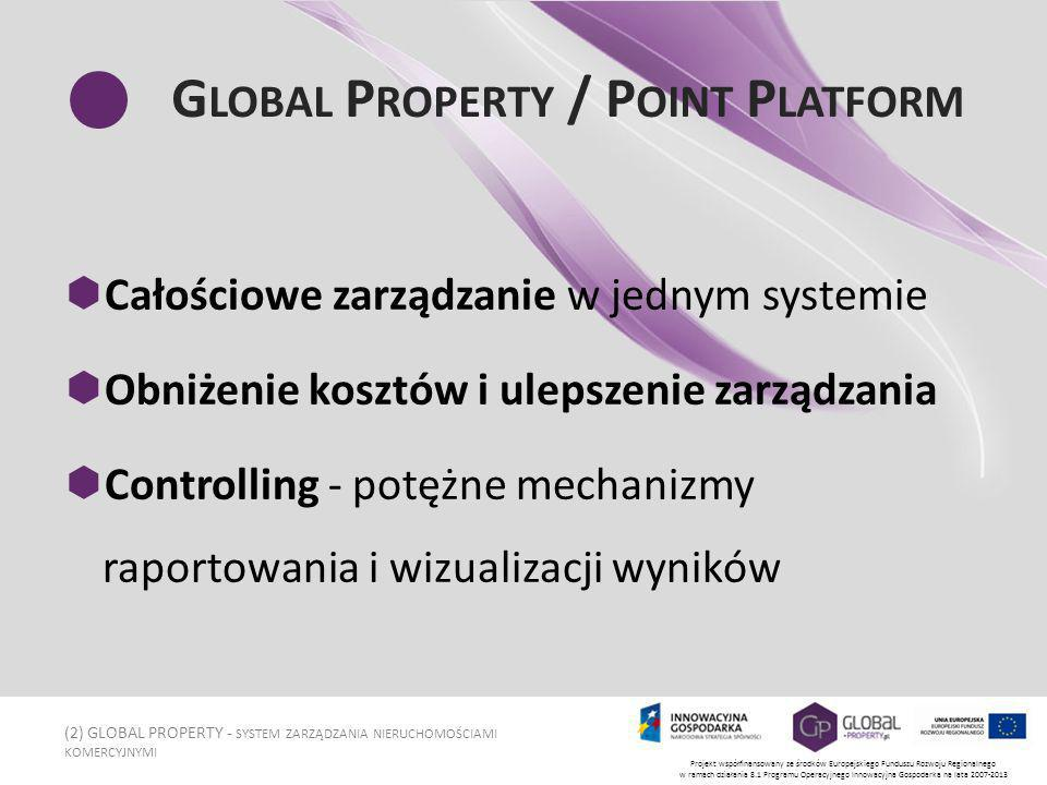(13) GLOBAL PROPERTY - SYSTEM ZARZĄDZANIA NIERUCHOMOŚCIAMI KOMERCYJNYMI Projekt współfinansowany ze środków Europejskiego Funduszu Rozwoju Regionalnego w ramach działania 8.1 Programu Operacyjnego Innowacyjna Gospodarka na lata 2007-2013 M ANAGEMENT P OINT RAPORTOWANIE I ANALIZA Dowolne analizy i raporty na podstawie zgromadzonych danych Raporty przekrojowe z obsługiwanych obiektów Własna księga raportów - pełne dopasowanie raportów do potrzeb klienta