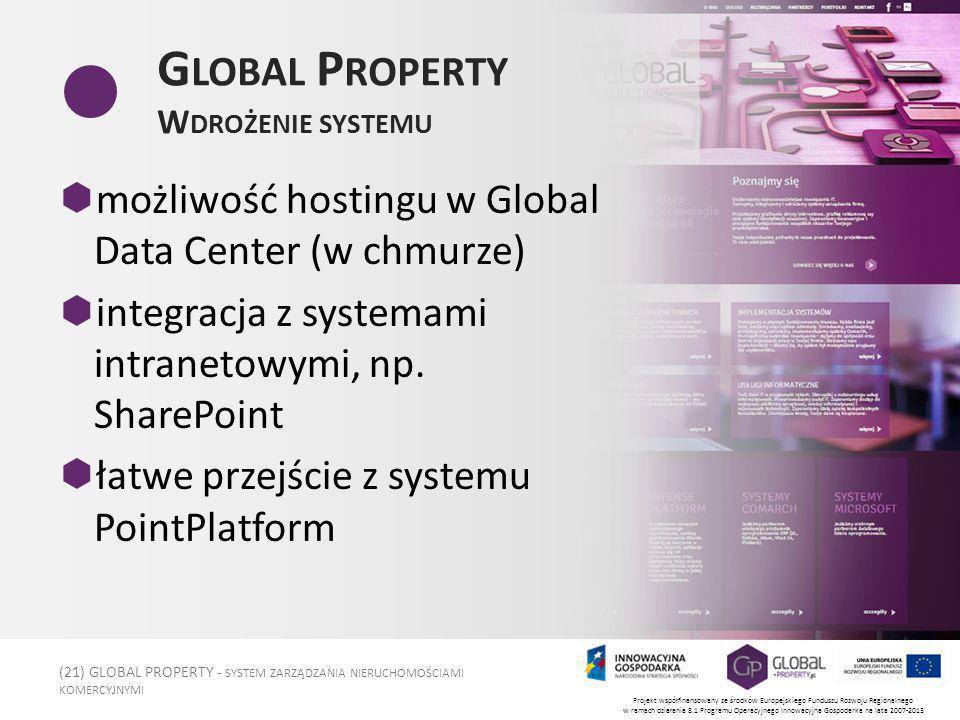 (21) GLOBAL PROPERTY - SYSTEM ZARZĄDZANIA NIERUCHOMOŚCIAMI KOMERCYJNYMI Projekt współfinansowany ze środków Europejskiego Funduszu Rozwoju Regionalnego w ramach działania 8.1 Programu Operacyjnego Innowacyjna Gospodarka na lata 2007-2013 G LOBAL P ROPERTY W DROŻENIE SYSTEMU możliwość hostingu w Global Data Center (w chmurze) integracja z systemami intranetowymi, np.