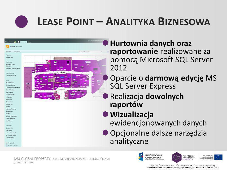 (23) GLOBAL PROPERTY - SYSTEM ZARZĄDZANIA NIERUCHOMOŚCIAMI KOMERCYJNYMI Projekt współfinansowany ze środków Europejskiego Funduszu Rozwoju Regionalnego w ramach działania 8.1 Programu Operacyjnego Innowacyjna Gospodarka na lata 2007-2013 L EASE P OINT – A NALITYKA B IZNESOWA Hurtownia danych oraz raportowanie realizowane za pomocą Microsoft SQL Server 2012 Oparcie o darmową edycję MS SQL Server Express Realizacja dowolnych raportów Wizualizacja ewidencjonowanych danych Opcjonalne dalsze narzędzia analityczne
