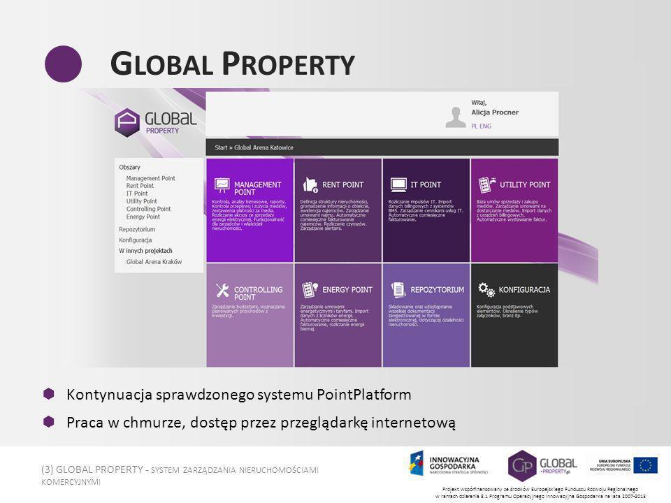 (3) GLOBAL PROPERTY - SYSTEM ZARZĄDZANIA NIERUCHOMOŚCIAMI KOMERCYJNYMI Projekt współfinansowany ze środków Europejskiego Funduszu Rozwoju Regionalnego w ramach działania 8.1 Programu Operacyjnego Innowacyjna Gospodarka na lata 2007-2013 G LOBAL P ROPERTY Kontynuacja sprawdzonego systemu PointPlatform Praca w chmurze, dostęp przez przeglądarkę internetową