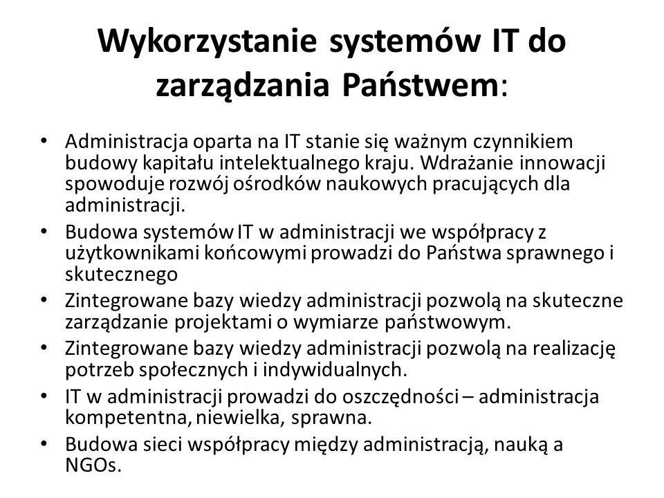 Wykorzystanie systemów IT do zarządzania Państwem: Administracja oparta na IT stanie się ważnym czynnikiem budowy kapitału intelektualnego kraju. Wdra